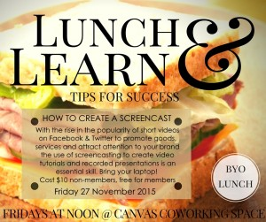 lunch, learn, screencast, screencastify, canvas, coworking,