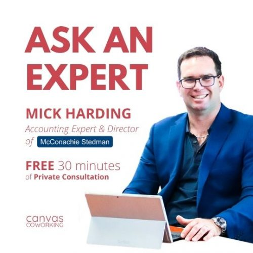 Canvas Coworking - Accounting Expert - Mick Harding - Second Wednesday of the month