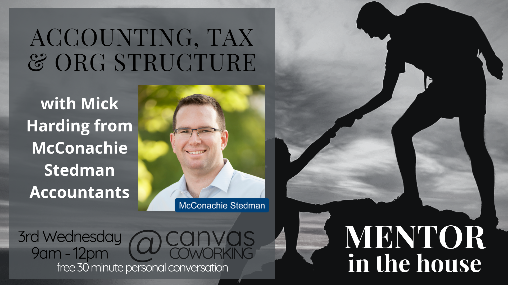 Mentor in the House - Mick Harding - Accounting, Taxation and Organisational Structure - Canvas Coworking - Toowoomba - 3rd Wednesday of the month - Free