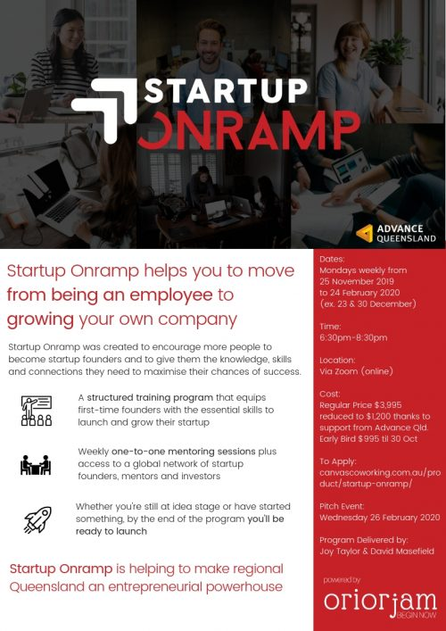 Startup Onramp Toowoomba commences on 25 November 2019. 12 week program for new founders.