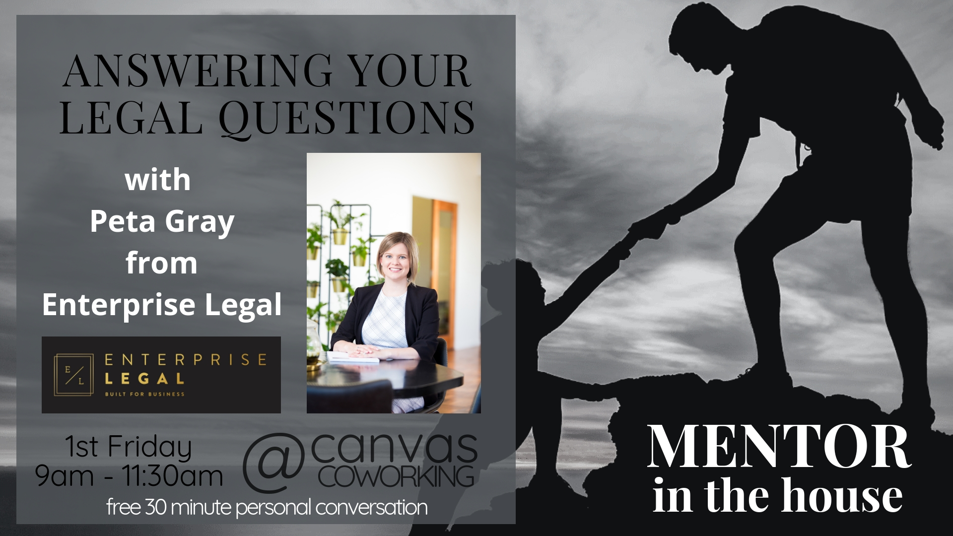 Legal Questions Answered - Mentor in the House - Canvas Coworking - Peta Gray