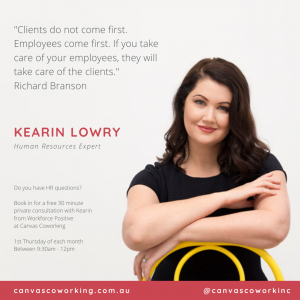 Canvas Coworking - Human Resources Expert - Kearin Lowry - 1st Thursday of each month