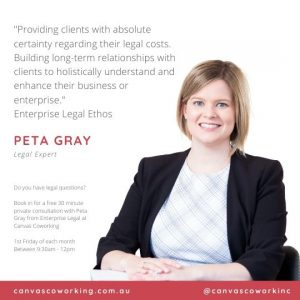 Ask An Expert at Canvas Coworking - Legal Expert - Peta Gray - Enterprise Legal - First Friday of each month