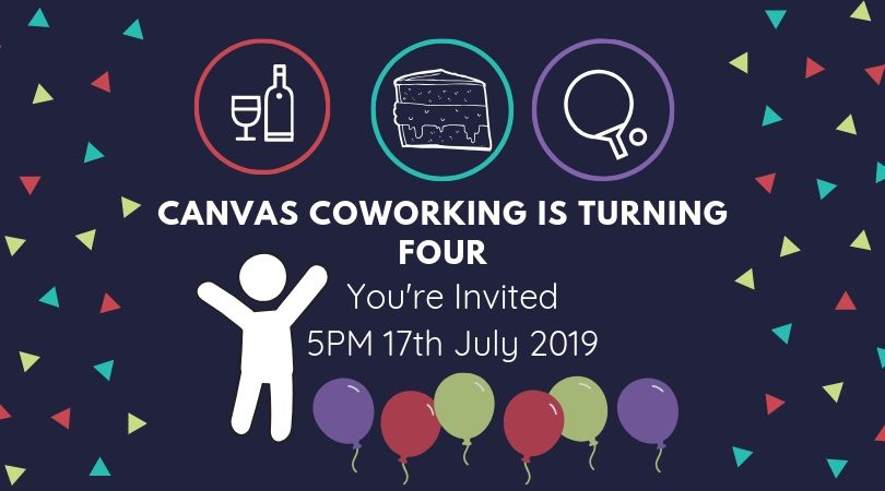 Canvas Coworking Birthday Invite 17th July 2019
