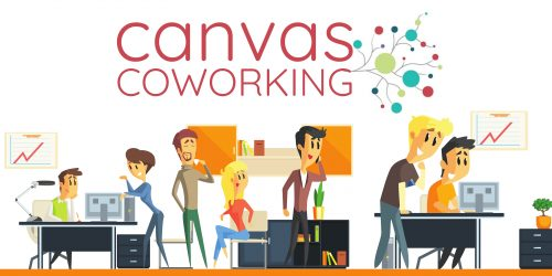Canvas Coworking Logo with cartoon images of coworkers, Canvas Coworking Toowoomba