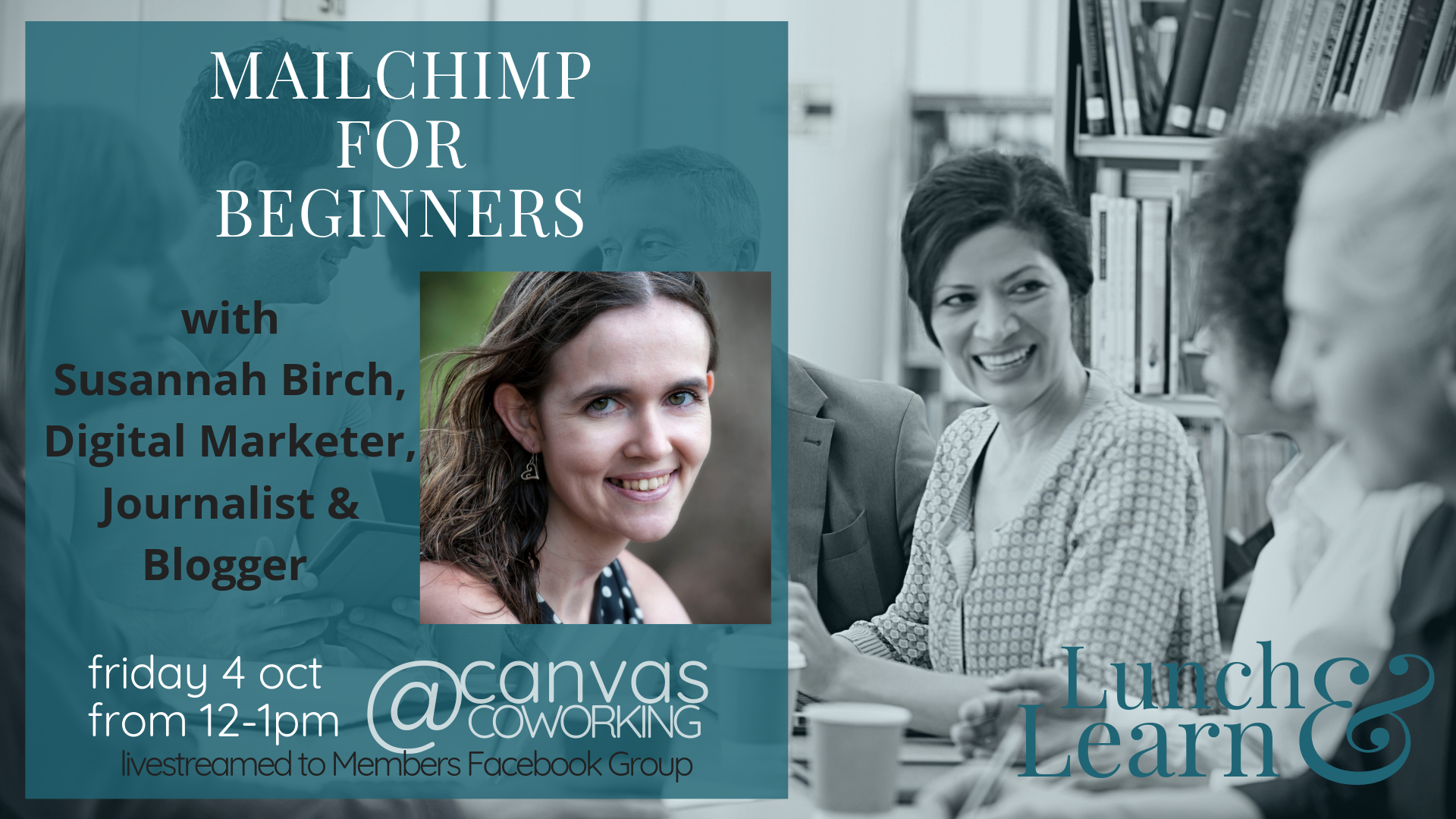 Lunch and Learn Mailchimp for Beginners at Canvas Coworking on 4 October 2019 from 12pm to 1pm
