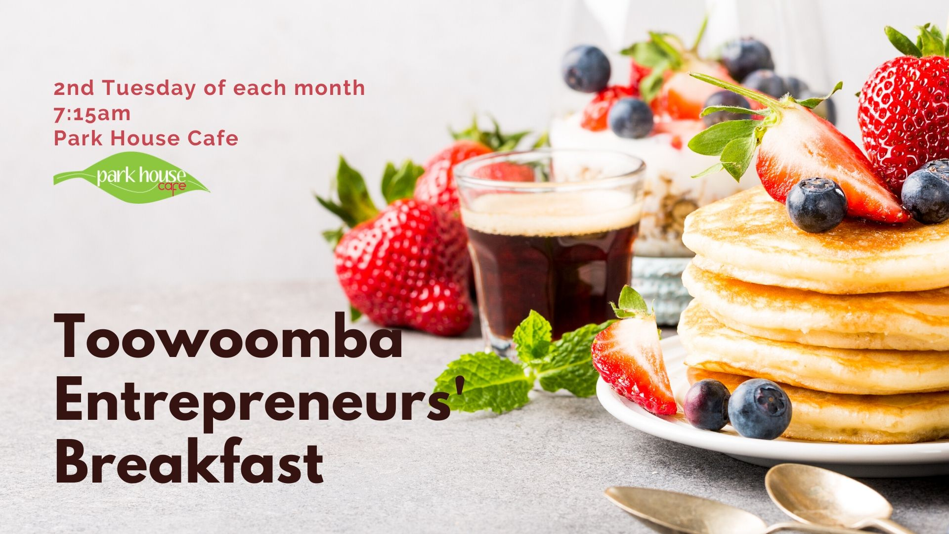 Toowoomba Entrepreneurs Breakfast - 2nd Tuesday of each Month at the Park House Cafe, sponsored by Canvas Coworking